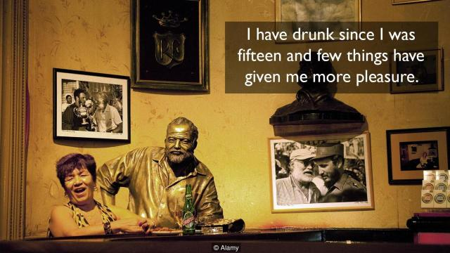 Floridita bar interior, with statue of Ernest Hemingway and a local patron, Havana, Cuba caribbean, Latin America